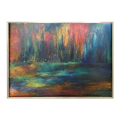Pre-owned Mid-century Abstract Painting in Bold Tones - Mid-century Modern abstract oil painting in rich bold tones. Piece is unsigned, and displayed in a chrome frame. In very good condition with some wear to the finish of the frame.