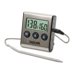 Taylor Digital Probe Thermometer Timer - The Taylor 5 Star Digital Cooking Thermometer & Timer is a commercial quality instrument with pre-programmed USDA temperature levels for poultry beef well pork/veal beef medium ham and beef rare/fish. Simply select one of the preset doneness levels or set a specific temperature - your alarm will sound when your food is done. Built in 99 minute timer.