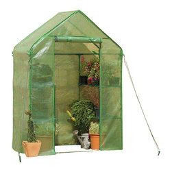 "Gardman USA - Compact Walk In Greenhouse - Compact Walk In Greenhouse - 4'8"" deep x 4'8"" wide x 6'5"" high (includes shelving). Ideal for limited spaces.  Includes wall fixing rings and guy ropes."