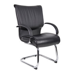 Boss - Mid Back Black Leatherplus Guest Chair With Chrome Base & Arms - Executive leather chair. Upholstered with Black Leather Plus. LeatherPlus is leather that is polyurethane infused for added softness and durability. Dacron Filled Cushions. Chrome metal cantilever sled base. Matching guest chair for models (B9701C) and (B9706C).