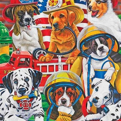 Rescue Heroes Puzzle - 60 Piece Jigsaw PuzzleDogs may be a person's best friend but they also make very cute heroes too, especially when dressed up in firefighting and rescue gear. With bright colors and lots of nearly hidden objects, this puzzle will keep you busy as well as engaged in heroic adventures for hours.