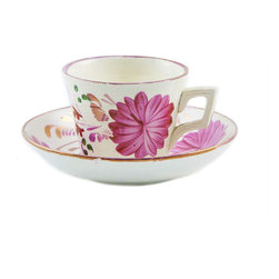 Lavish Shoestring - Consigned Pink Espresso Coffee Cup and Saucer, Antique English, circa 1910 - This is a vintage one-of-a-kind item.