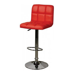 NPD (New Pacific Direct) Furniture - Jett Quilted Gaslift Barstool (Set of 2) by NPD Furniture, Red - This designer chair will make an attractive statement in the home. The height adjustable swivel seat adjusts from counter to bar height with the handle located below the seat. The chrome footrest supports your feet while also providing a contemporary chic design.