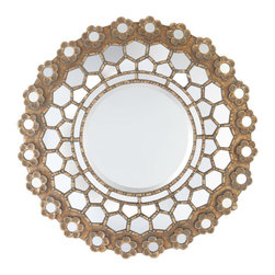 French Honeycomb Mirror - Adding a reflective sparkle to any room, this round wooden mirror has a floral design around the outer edge. The center features a beveled mirror, which reflects anything placed in front of it.