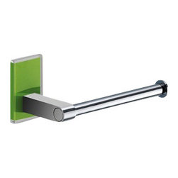Gedy - Modern Round Chrome Toilet Roll Holder With Green Mounting - Modern style toilet roll holder made in chromed brass.