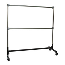 Z Racks - Double Rail Heavy Duty H-Rack w 60 in. Uprigh - Black H-base Only. 500 lb. capacity. 14 gauge steel base (Environmentally safe powder coated finish). 16 gauge upright bars and double hang rails. 1 5/16 outside diameter upright bars and double hang rails. Grey non-marking soft rubber with TP center 4 in. casters. Made in the USAThis H-Rack is designed to hold up to 500 lbs of apparel while maximizing all 5 ft. of length. And because the two rows are placed on top of each other, the rack will not tip under a heavy load. The second hang rail can be placed anywhere along the uprights.