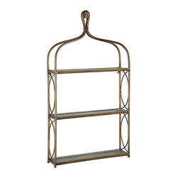 Ballard Designs - Sylvia Shelf - Aged gold finish. Gray wood shelves. Keyhole hangers. Our Sylvia Shelf is perfectly sized to create storage in the bath, dining area or kitchen. Three fixed wooden shelves have plate grooves for display. Frame is crafted of metal with crossed-bow details. Sylvia Shelf features: . . .