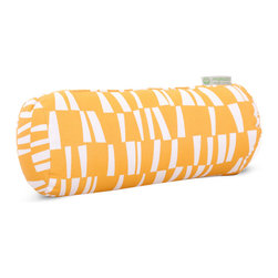 Majestic Home - Outdoor Citrus Sticks Round Bolster Pillow - Bolsters add some fun shape variety to your throw pillow collection; they fit well into the corners of your couch or settee, and they make great neck support pillows. This one has a cute, modern print that would brighten up a casual couch, bench or lounger, and it's treated so that you can use it on the deck. The cover can also be removed for easy cleaning. Try it with some white patio furniture.