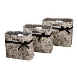 Enchante Accessories Inc - Vintage Open Magazine Bins WPY WPY (Set of 3) - Set of 3 open magazine bins