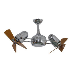 "Matthews Fan Company - Matthews Fan Company DG-CR-WD Atlas Dagny 41"" Dual Rotational Ceiling Fan - Matthews Fan Company DG-CR-WD Atlas Dagny 41"" Dual Rotational Ceiling Fan with Hand-Held Remote and Wood BladesThe double-headed rotational ceiling fan, Dagny, with cylindrical central housing and straight, parallel arms, is designed in the retrospective aesthetic. The Dagny offers fluid lines and quiet axial rotation. The motor heads can be infinitely positioned in 180-degree arcs for optimum air movement; the greater the angles of the motors to the horizontal support rods (up or down), the faster the axial rotation. A slow, controlled axial rotation is achieved by both motor head position and fan blade speed. Matthews rotational fans circulate heat and air-conditioning more efficiently than traditional paddle fans.Matthews Fan Company DG-CR-WD Features:"