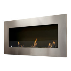 "Ignis Products - Optimum Wall Mounted / Recessed Ventless Ethanol Fireplace with Glass Barrier - Bring a touch of elegance and sophistication to your modern space with the Optimum Recessed Ventless Ethanol Fireplace. This ventless fireplace is just the thing to give any room the ambiance of an open-flame fireplace without the mess or the fuss. This 18000-BTU fireplace uses eco-friendly bio ethanol fireplace fuel to keep a large area toasty warm and comfortable for up to five hours per burner refill. With this fireplace, you don�t need a chimney, and no electric or gas lines are required, so you can use it virtually anywhere you�d like. It features an eye-catching six-inch stainless steel frame with three burners that are set inside a black powder-coated inset for a look that is contemporary and sleek. Dimensions: 59"" x 27.5"" x 9"". Features: Ventless - no chimney, no gas or electric lines required. Easy or no maintenance required. Easy Installation - Can be mounted directly on the wall or recessed (mounting brackets included). Capacity: 1.5 Liter per Burner. Approximate burn time - 5 hours per Burner per refill. Approximate BTU output - 6000 per Burner (Total BTU ~18000). Includes Safety Glass Barrier and Brackets."