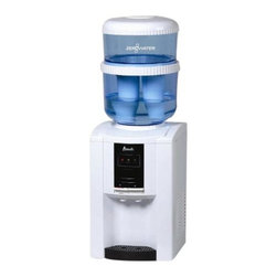 """Avanti - ZeroWater Dispenser Counter - Avanti WDTZ000 Countertop Water Dispenser with Zero Water Filters - Avanti Countertop Water Dispenser with push button faucets for Hot & Cold Water - Comes complete with Water Bottle Kit, 1 TDS Meter, and (2) ZeroWater filters. Unit Dimensions: 20.5"""" x 12.25"""" x 14.25"""" (37""""H with Bottle)."""