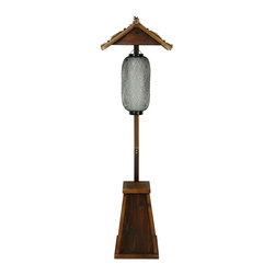 "Oriental Furniture - Shinto Bamboo Lantern Stand - Japanese hanging lantern stand provides a bold, decorative lighting solution. Sturdy wood pyramid base and pole finished in a lacquered dark walnut. Thatched ""roof"" features bamboo pole beams and dark decorative ties for a distinctively rustic Oriental element. Black and white lantern wired for standard American light bulbs. Cord wraps around support pole to base and plugs into a standard outlet. Use alone or in pairs for a unique floor lamp by a table, chair, or doorway."