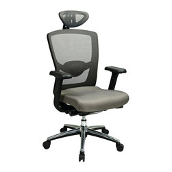 Office Star - Grey Progrid High Back Chair w Adjustable Arm - Breathable Grey ProGrid back with adjustable lumbar support. Molded Foam mesh seat. Deluxe 2-to-1 synchro tilt control with 3-position lock, anti-kickback, seat slider and tilt tension control. Height adjustable arms with depth adjustable PU pads. Heavy duty Nylon base with polished Aluminum caps and oversized dual wheel carpet casters. Height adjustable headrest . Grey meshChair: 27.75 in. D x 26.5 in. W x 42 in. H. Headrest: 7 in. D x 12.5 in. W x 9 in. H