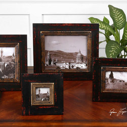 Kitra, Photo Frames, S/4 - Distressed black wood frames with antiqued gold inner lip. Holds photo Sizes: 3×3, 4×6, 5×7, 8×10.