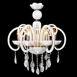 Cirrus 6-Light White Crystal Accent Chandelier - Add carefree ease to your home or business with this white crystal chandelier. The overall style shows simplicity and minimalist but exquisite design featuring vine-shape glass arms and smooth crystal drops. Incandescent bulbs give off soft lighting through the encircling arms that will fit well with any room.