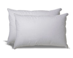 Set of 2 Down Alternative Hypoallergenic Pillow - Our Hypoallergenic pillow comes in a 200-thread count, 100% cotton ticking, filled with a hollow, siliconized, polyester cluster fiber. The pillows are non-allergenic, washable, and without exception, the finest pillows of this class anywhere! Most gold label pillows use a continuous filament fiber which flattens out quickly or becomes lumpy when washed. We use a much loftier cluster fiber to make this a soft but long-lasting pillow with an average lifetime of 3-5 years.