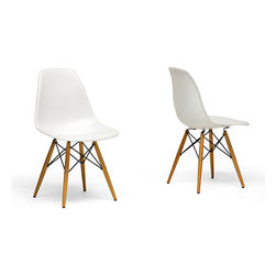 Baxton Studio - Wood Leg White Accent Chairs (Set of 2) - Add a contemporary touch to any room with these retro white accent chairs. The set of two chairs are made from molded plastic, have wooden legs, and feature a matte finish. The ergonomic shape and curved seat provides maximum comfort for your guests.