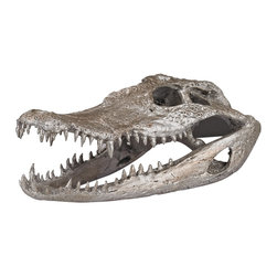 Lazy Susan - Lazy Susan 112162 Crocodile Skull In Silver Leaf Sculpture - Formed in composite from a real skull.