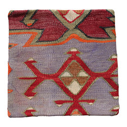 Original Hand Woven Kilim Imported from Turkey - Grey background Antique Kilim Pillow Cover - Hand Woven from an Antique Turkish Kilim Carpet, this pillow cover has a Wool front and cotton back with Zipper entry.  Please note:  pillow insert not included.