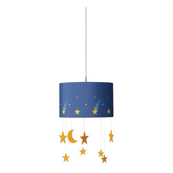 Philips Luminaire - Starry Night Suspension Light - A delightful decorative Philips suspension light that see stars in flight in your childs bedroom, a melody of innocence. Made with environmentally ethical wood, fabric and child safe materials.