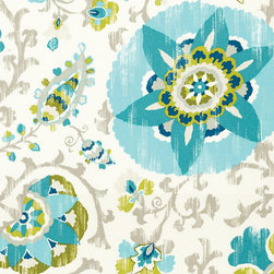 "Ballard Designs - Aruba Turquoise EasyCare Fabric by the Yard - Content: 100% polyester. Repeat: Non-railroaded fabric with 36"" repeat. Care: Spot wash with mild soap solution. Width: 54"" wide. Suzani floral of turquoise, lime, pewter & white printed on easy-care 100% polyester  .  .  .  . Because fabrics are available in whole-yard increments only, please round your yardage up to the next whole number if your project calls for fractions of a yard. To order fabric for Ballard Customer's-Own-Material (COM) items, please refer to the order instructions provided for each product.Ballard offers free fabric swatches: $5.95 Shipping and Processing, ten swatch maximum. Sorry, cut fabric is non-returnable."