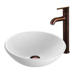 VIGO Industries - VIGO White Phoenix Stone Glass Vessel Sink with Oil Rubbed Bronze Faucet - The VIGO White Phoenix Stone Glass Vessel Sink with Oil Rubbed Bronze Faucet will bring a contemporary look to any bathroom.