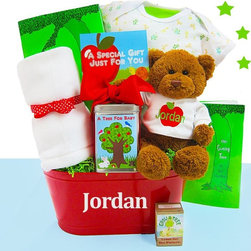 Cashmere Bunny - Cashmere Bunny Personalized Grow a Tree for Baby Gift Basket Multicolor - GAFTB - Shop for Baby Gifts from Hayneedle.com! Set a brand new baby on the right path by sending the adorable Cashmere Bunny Grow a Tree for Baby Gift Basket. This unique gift is centered around a real apple tree growing kit that the new parents can plant and watch grow along with their little one. They'll also get a sweet Gund teddy bear wearing a personalized t-shirt super-soft onesie and blanket and a hardcover copy of Shel Silverstein's classic The Giving Tree. It's delivered in an apple red tin that can be personalized with the baby's name. Gift Basket Includes Gund teddy bear Apple tree growing kit The Giving Tree book Security blanket Onesie Red tin Please note that for this item the following services are available during the checkout process: Multiple Ship-To which allows you to send gifts to several recipients with a single order. Future Delivery which lets you select a specific date for delivery so your gift arrives at the perfect time. About Cashmere Bunny LLCThe Cashmere Bunny gift basket company is an undeniably unique and premium designer of gifts meant to usher in a new arrival. Its gift compilations usually include pampering items for the new mom as well as clothes bibs and teddy bears for the baby.