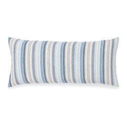 Pine Cone Hill - honfluer linen pillow (15x35) - A relaxed, beachy feel in a classic blue, ivory, and gray stripe on linen. Zipper closure, feather insert included.��This item comes in��blue.��This item size is��35w 15h.
