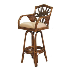 Hospitality Rattan - Indoor Swivel Rattan-Wicker 30 in. Bar Stool - TC Antique Finish (Beach House) - Fabric: Beach House. When you want relaxed entertaining, add Cancun Palm barstools with their tropical looks. Cane framing with an antique finish complements the carved double plant with fronds back insets. Upholstery options include solid neutrals and bright colors along with vivid beach-themed patterns. Made of Rattan Poles & Woven Wicker. Finished in TC Antique Color. Includes cushion with choice of fabric in a variety of colors and patterns. Swivel Mechanism included. Constructed of commercial quality rattan poles. Requires Some Assembly (Instructions Included). Overall: 21 in. L x 23 in. W x 47 in. H (25 lbs.)This Cancun Palm Barstool is one of our exclusive and largest collections featuring fine rattan and herringbone wicker weaving, along with a fiber palm tree casting design. The woven leather bindings used throughout the Cancun Palm ensures its durability and quality for many years of use. It makes for a wonderful island setting for any bar area or counter. The selection choice of two finishes also compliments any decor. The barstools and counter stools feature commercial grade reinforced rattan bases, swivel mechanisms & reinforced double pole footrests. In addition your choice of over 45 fabrics is available on the Cancun Palm Collection. Fully Assembled