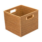 Kouboo - Square Rattan Utility Basket - This storage basket is characterized by its beauty and its usefulness. Store books, toys, papers or any other loose ends . The tight weave of the Rattan vines gives this basket a refined coastal look.1 year limited warranty.