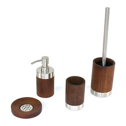 Gedy - Erica Walnut Wood Bathroom Accessory Set - Stylish, trendy bathroom accessory set which includes toothbrush holder, toilet brush holder, soap dispenser, and soap dish.