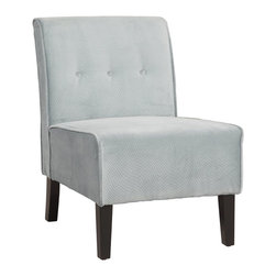 Linon Home Decor - Linon Home Decor Accent Chair X-U-DK-10-ULB69063 - Classic design meets modern appeal in this superbly comfortable upholstered chair.  Substantial, durable padding and a sturdy hardwood frame makes for long lasting utilization. The mix of fabric, button tufting and clean lines adds an air of sophistication and elegance to virtually any home d&#233:cor.  A functional and artistic addition to your living room, bedroom, or den.  The rich dark walnut finish frame is complimented by the stunning mist blue fabric.