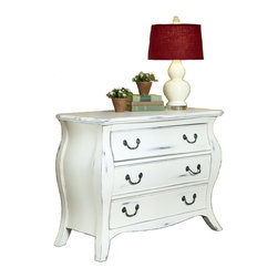 None - The Regency White Bombe Chest - Finish off your dressing room or bedroom decor with this gorgeous distressed Bombe chest. Constructed from solid mahogany and complete with a sanded and rubbed finish to appear aged, this lovely dresser offers plenty of room for storage.