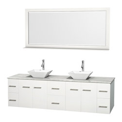 """Wyndham Collection - Centra Bathroom Vanity in White,WT  Carrera Top,Pyra White Sinks,70"""" Mir - Simplicity and elegance combine in the perfect lines of the Centra vanity by the Wyndham Collection. If cutting-edge contemporary design is your style then the Centra vanity is for you - modern, chic and built to last a lifetime. Available with green glass, pure white man-made stone, ivory marble or white carrera marble counters, with stunning vessel or undermount sink(s) and matching mirror(s). Featuring soft close door hinges, drawer glides, and meticulously finished with brushed chrome hardware. The attention to detail on this beautiful vanity is second to none."""