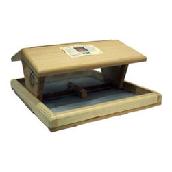 Songbird Essentials - Vista with Hopper - Vista with Hopper. This feeder is designed for the serious bird feeder. The oversized feeding tray has reinforced screen bottom to keep seed dry and clean. The large hopper holds 14 cups of seed.