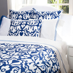 Crane & Canopy - Montgomery Blue Sham - Euro - A pop of color, pattern play and a luxurious fabric. With its modern take on the traditional damask floral pattern, the Montgomery duvet cover will instantly brighten any bedroom.