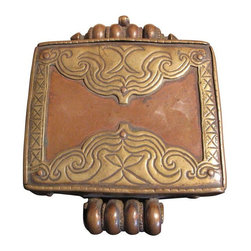 Pre-owned Antique Floral Gauri Box - This treasure is an ornate antique copper box with floral brass detailing was used by Tibetan monks to carry and protect their personal belongings.