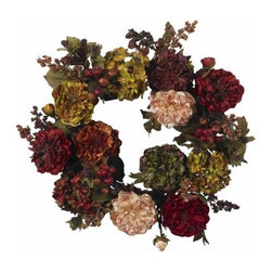 Nearly Natural - 22 Inch Autumn Hydrangea Peony Wreath - When most people think of fall, many forget the Hydrangea and Peony. Luckily, we haven't, and to prove it, we've created one of our most stunning offerings this beautiful 22 Hydrangea Peony Wreath. Arguably one of our most colorful wreaths, this wreath is bursting with the fullness and timeless beauty of these two classic flowers, hued in Autumn s finest shades. It's a magnificent piece that will look lovely in any home.