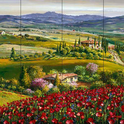 The Tile Mural Store (USA) - Tile Mural - Tuscan Poppy - Kitchen Backsplash Ideas - This beautiful artwork by Sam Park has been digitally reproduced for tiles and depicts a beautiful tuscan poppy field.  This garden tile mural would be perfect as part of your kitchen backsplash tile project or your tub and shower surround bathroom tile project. Garden images on tiles add a unique element to your tiling project and are a great kitchen backsplash idea. Use a garden scene tile mural for a wall tile project in any room in your home where you want to add interesting wall tile.