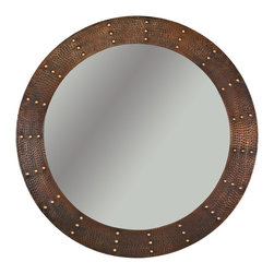 "Premier Copper Products - 34"" Round Copper Mirror w/ Hand Forged Rivets - Uncompromising quality, beauty, and functionality make up this Hand Hammered Copper Round Mirror Frame with Hand Forged Rivets.  Our hand made copper mirrors complement a wide variety of styles and colors."