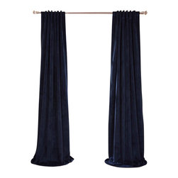 Exclusive Fabrics & Furnishings, LLC - Signature Midnight Blue Blackout Velvet Curtain - Keep the light out and the heat in with these luxurious, lustrous curtains. Crafted from soft poly velvet and available in a variety of rich colors, they'll give your windows the royal treatment.