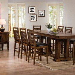 "Acme - 9 PC Hadwin Collection Mission Style Oak Finish Wood Counter Height Pedestal Set - 9-Piece Hadwin collection mission style oak finish wood counter height pedestal dining table set with leather like padded chairs. This set features a counter height table with mission style lines, 8 - side chairs with leather like padded seats. Table measures 38"" W x 72"" (90"" L with 1 - 18"" leaf included) x 36"" H . Chairs measure 24"" H seat height. Side server also available separately at additional cost. Some assembly required."