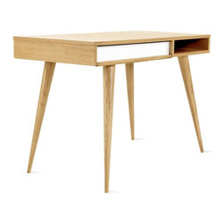 Celine Desk - The simple form of this desk makes it desirable for a modern or eclectic space. I love the hardwood legs!