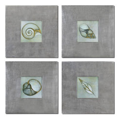 Uttermost - Neptunes Garden Framed Art Set of 4 - Prints Are Outlined With Metallic Accents. Frames Feature A Champagne Silver Leaf Base With A Light Brown Glaze.