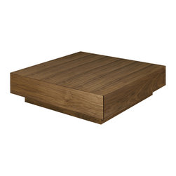 Nuevo Living - Dumas Coffee Table in Walnut by Nuevo - The Dumas Coffee Table by Nuevo in walnut features two drawers for storage. At 3ft x 3ft the Dumas Modern Coffee Table is a good size for home or office. The inside storage is 32x13x2.75 for each drawer. The Dumas occasional table is available in three colors. This listing is for the walnut version but it is also available in a darker dark walnut version and a white lacquer version..