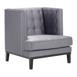 Armen Living - Noho Arm Chair in a Silver Satin Fabric - Beautiful silver satin fabric contemporary arm chair with a tufted material and pillow back.