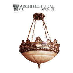 Architectural Archive - ROMAN REVIVAL ALABASTER - ROMAN REVIVAL Bronze and ALABASTER Chandelier. Aside from our available inventory, we can manufacture this chandelier to suit any size order.