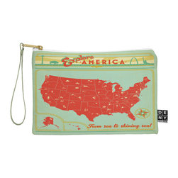 DENY Designs - DENY Designs Anderson Design Group Explore America Pouch - You name it, DENY's Pouches hold it! Available in two sizes and styles, you can use our water repellent pouches for cosmetics, perfume, jewelry, pencils and even an Ipad mini! And did we mention that the small size doubles as a wristlet? With a coordinating color strap and interior lining, you can throw it into a larger bag or use it on the go as a clutch to hold your phone, credit cards and various other essentials. It's a party in a bag!