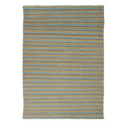 Natural Solid Pattern Jute/Cotton Blue Rug AD04